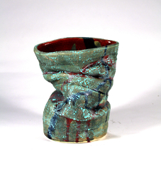 """Crawling green vase"", 3"", 7.75"", multi-fires low and high glaze fire stoneware, 2017"
