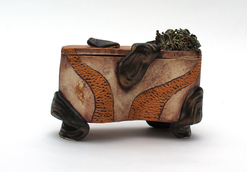 """Secret Box"", 6.75"", 3.5"", 5"", glazed high fire stoneware with iron oxides, 2016"